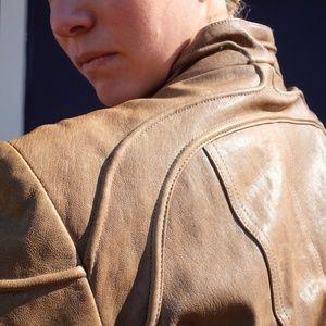 ANDREW MARC stone leather jacket